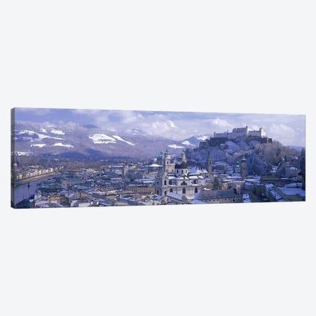 Winter Landscape Featuring Altstadt (Old Town), Salzburg, Austria 3-Piece Canvas #PIM2859} by Panoramic Images Canvas Art