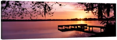 USA, Florida, Orlando, Koa Campground, Lake Whippoorwill, Sunrise Canvas Art Print