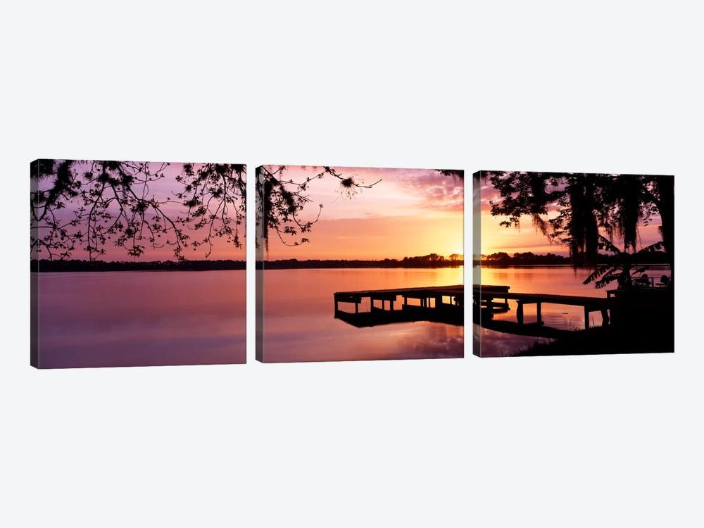 USA, Florida, Orlando, Koa Campground, Lake Whippoorwill, Sunrise 3-piece Canvas Wall Art