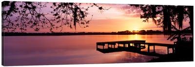 USA, Florida, Orlando, Koa Campground, Lake Whippoorwill, Sunrise Canvas Art Print