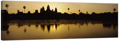 Silhouette of A Temple At SunriseAngkor Wat, Cambodia Canvas Print #PIM2861