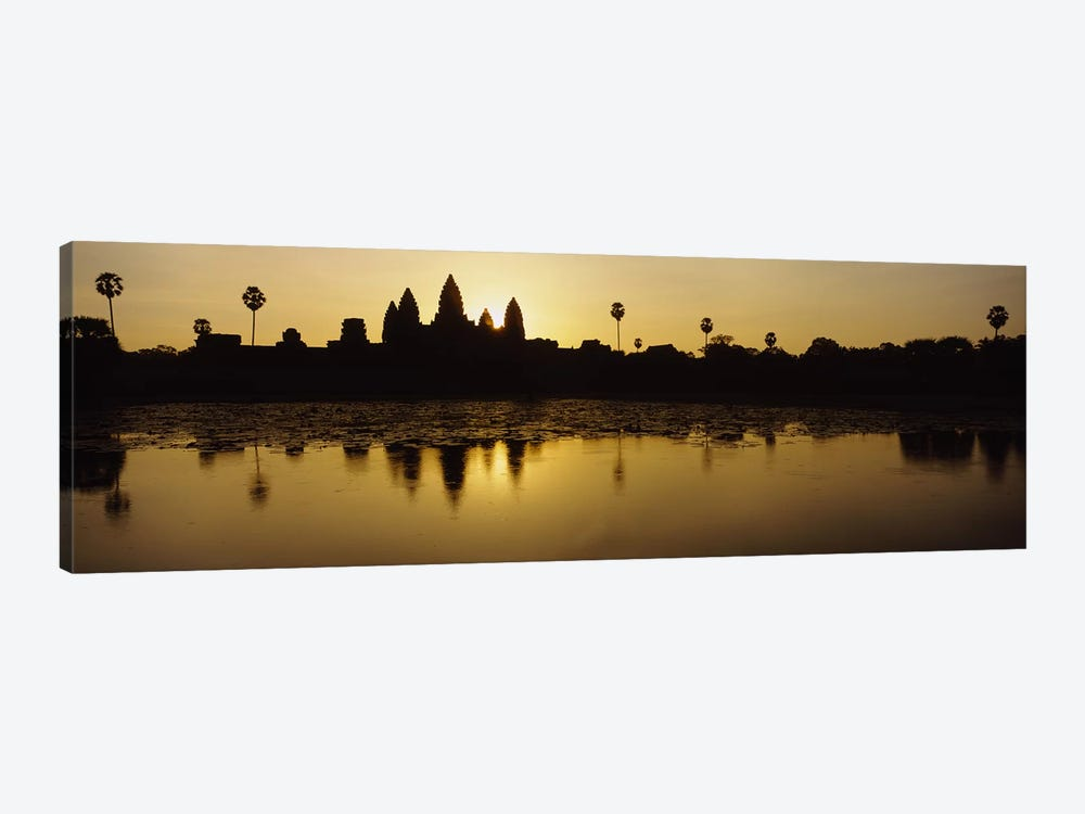 Silhouette of A Temple At SunriseAngkor Wat, Cambodia by Panoramic Images 1-piece Canvas Wall Art