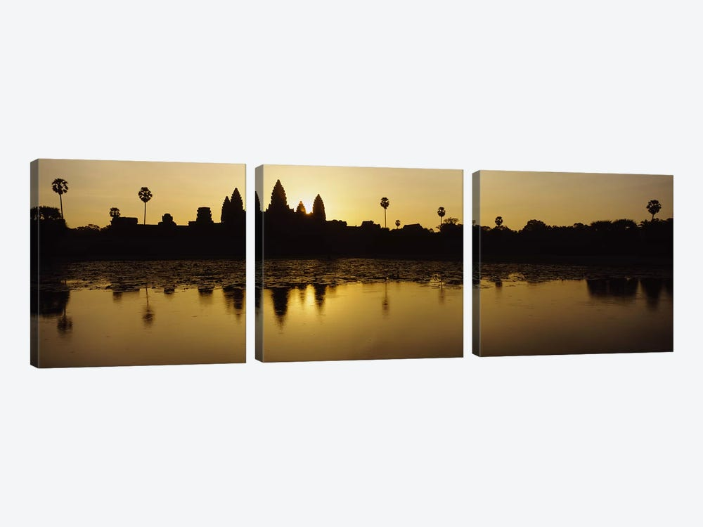 Silhouette of A Temple At SunriseAngkor Wat, Cambodia by Panoramic Images 3-piece Canvas Artwork