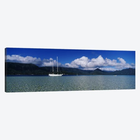 Lone Sailboat, Kane'ohe Bay, Oahu, Hawaii, USA Canvas Print #PIM2863} by Panoramic Images Canvas Print