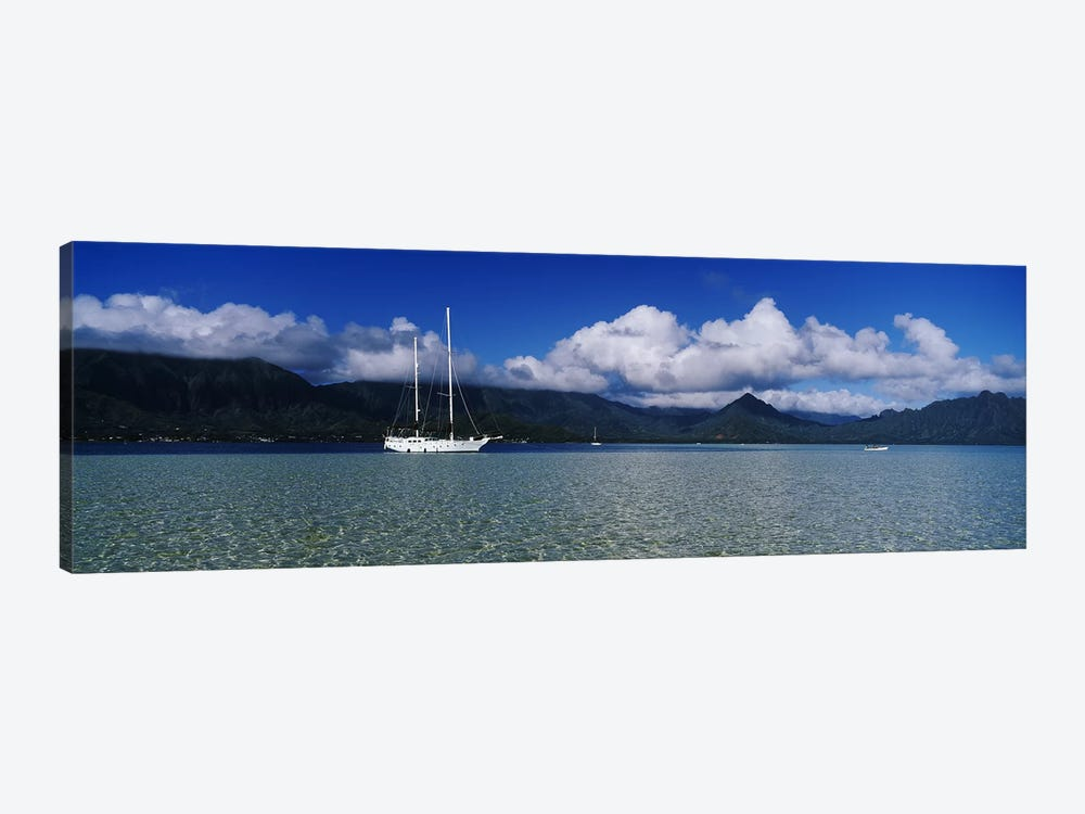 Lone Sailboat, Kane'ohe Bay, Oahu, Hawaii, USA by Panoramic Images 1-piece Canvas Artwork