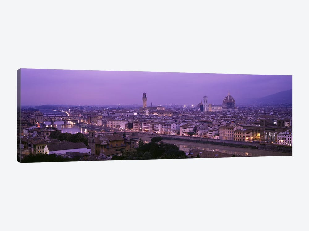 Cityscape At Twilight, Florence, Tuscany, Italy 1-piece Canvas Art