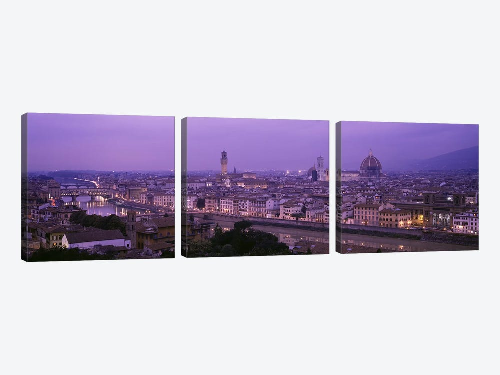 Cityscape At Twilight, Florence, Tuscany, Italy 3-piece Canvas Wall Art