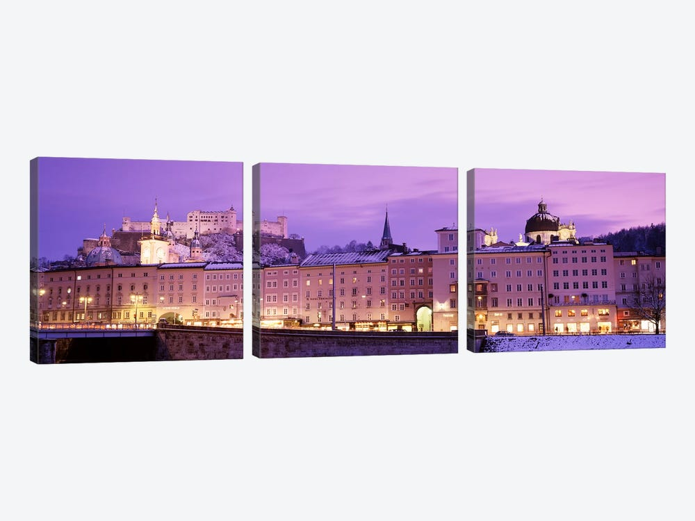 Night Salzburg Austria by Panoramic Images 3-piece Canvas Art Print