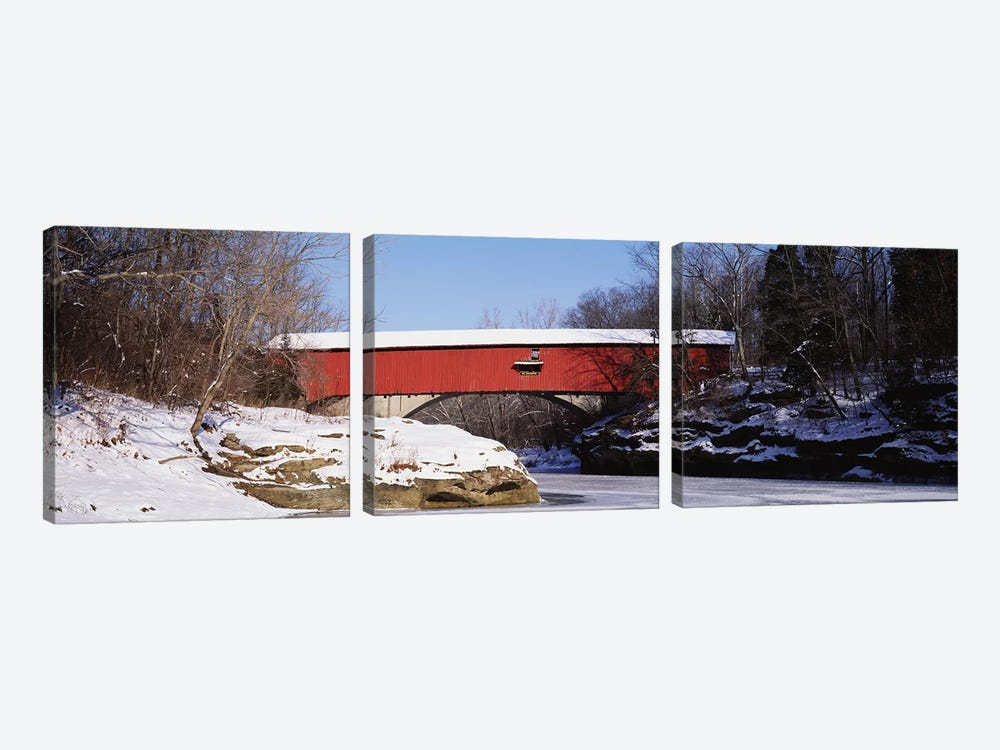 Narrows Covered Bridge Turkey Run State Park IN USA by Panoramic Images 3-piece Canvas Art Print