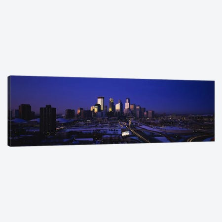 Skyscrapers at duskMinneapolis, Minnesota, USA Canvas Print #PIM2891} by Panoramic Images Canvas Art
