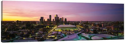 Skyscrapers lit up at sunsetMinneapolis, Minnesota, USA Canvas Print #PIM2892