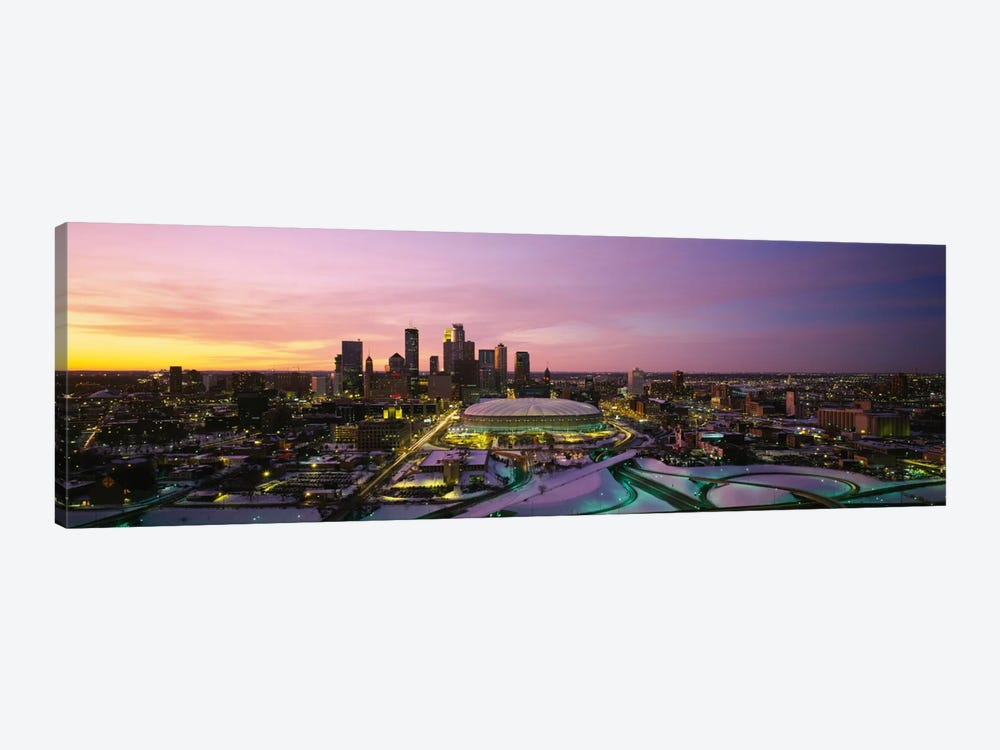 Skyscrapers lit up at sunsetMinneapolis, Minnesota, USA by Panoramic Images 1-piece Canvas Wall Art