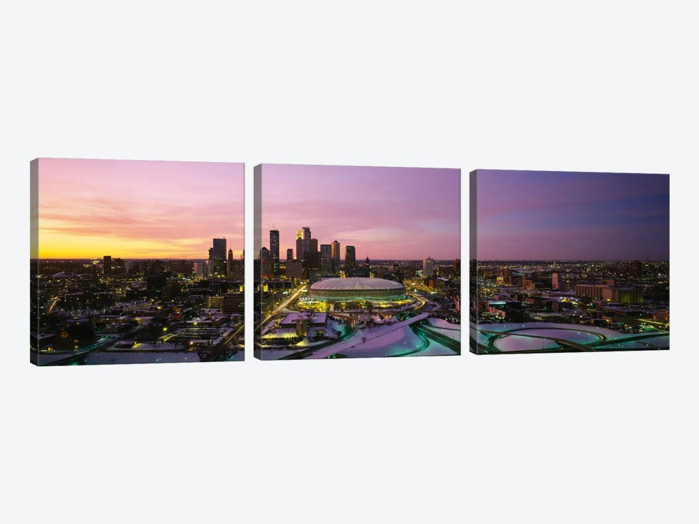 Skyscrapers lit up at sunsetMinneapolis, Minnesota, USA by Panoramic Images 3-piece Canvas Art