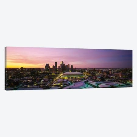 Skyscrapers lit up at sunsetMinneapolis, Minnesota, USA Canvas Print #PIM2892} by Panoramic Images Canvas Art