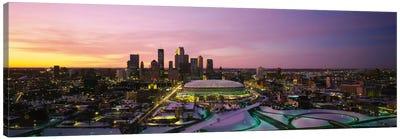 Skyscrapers lit up at sunsetMinneapolis, Minnesota, USA Canvas Art Print