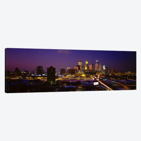 Skyscrapers lit up at duskMinneapolis, Minnesota, USA Canvas Print #PIM2893} by Panoramic Images Canvas Art