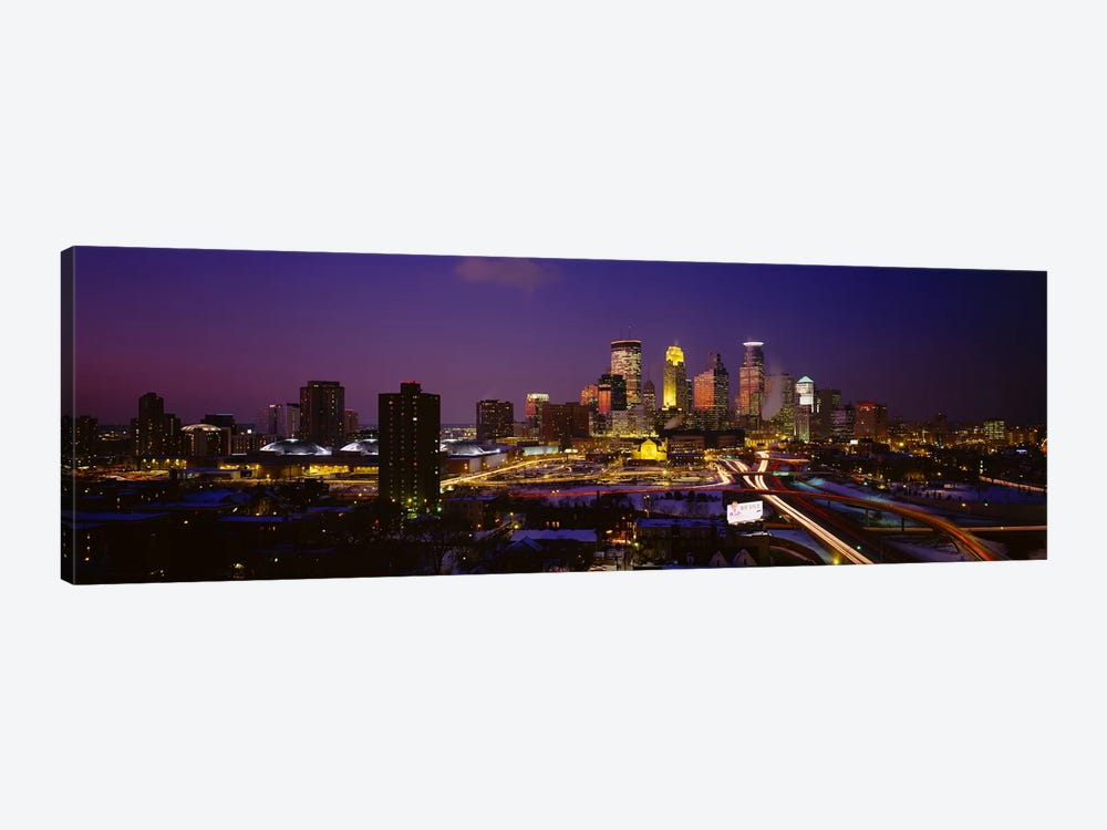 Skyscrapers lit up at duskMinneapolis, Minnesota, USA by Panoramic Images 1-piece Canvas Print