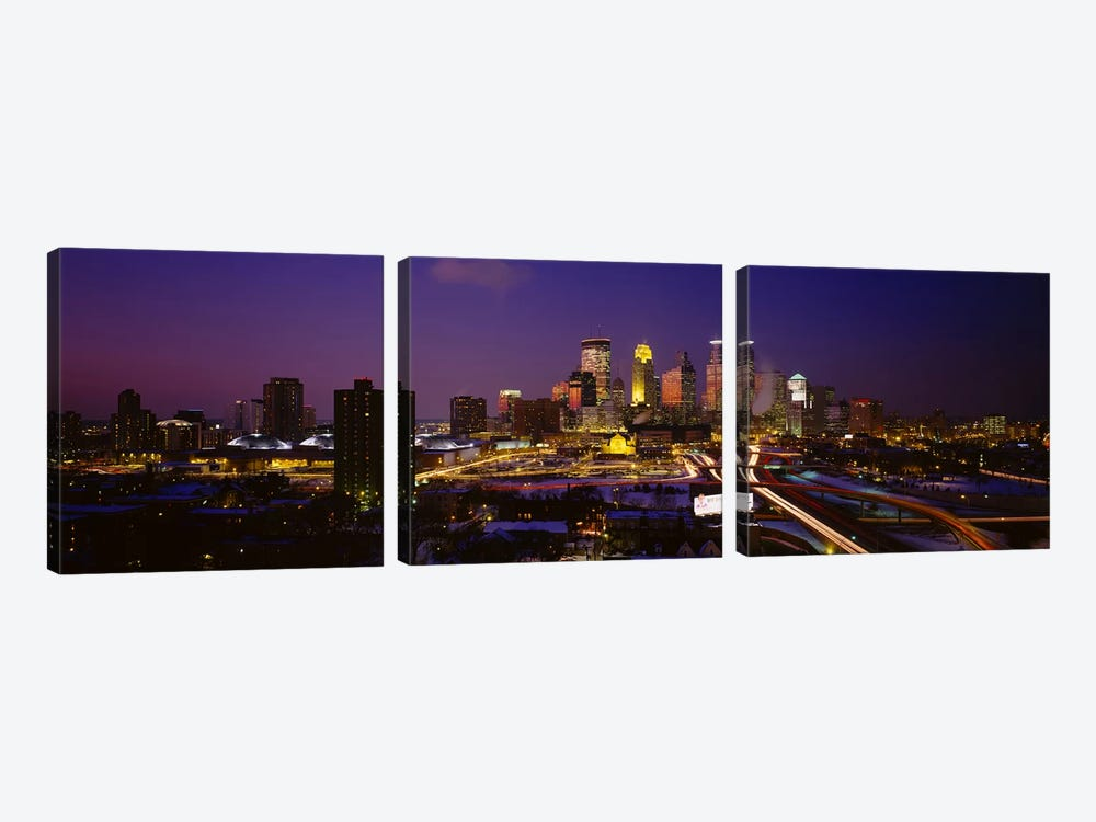 Skyscrapers lit up at duskMinneapolis, Minnesota, USA by Panoramic Images 3-piece Art Print