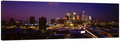 Skyscrapers lit up at duskMinneapolis, Minnesota, USA Canvas Art Print