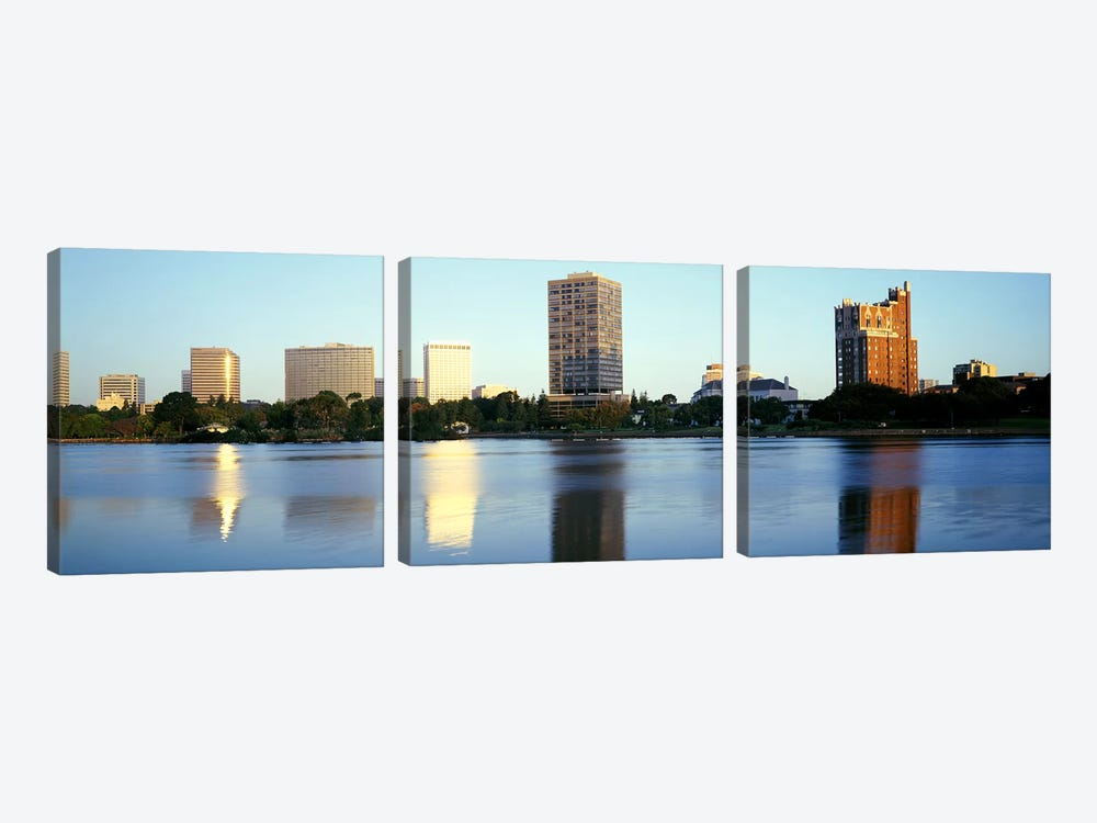 Reflection of skyscrapers in a lakeLake Merritt, Oakland, California, USA by Panoramic Images 3-piece Canvas Wall Art