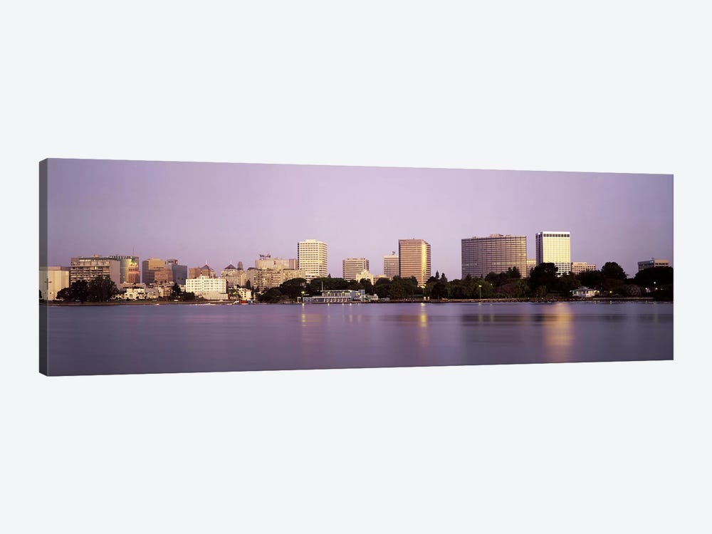 Reflection of skyscrapers in a lakeLake Merritt, Oakland, California, USA 1-piece Canvas Print