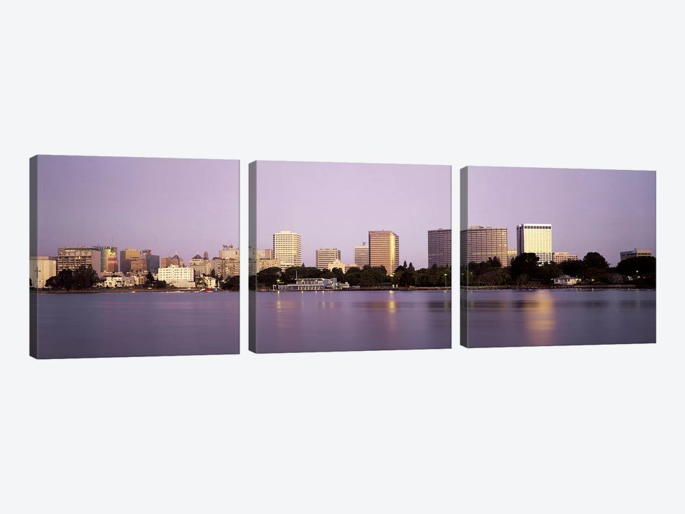 Reflection of skyscrapers in a lakeLake Merritt, Oakland, California, USA by Panoramic Images 3-piece Art Print