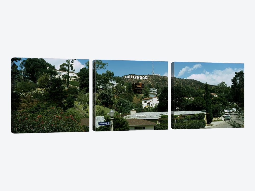Low angle view of a hillHollywood Hills, City of Los Angeles, California, USA by Panoramic Images 3-piece Canvas Art