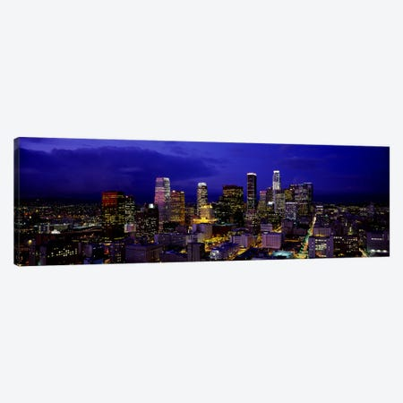 Skyscrapers lit up at nightCity of Los Angeles, California, USA Canvas Print #PIM2897} by Panoramic Images Canvas Art Print