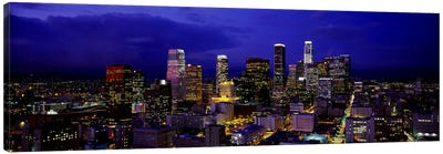 Skyscrapers lit up at nightCity of Los Angeles, California, USA Canvas Print #PIM2897