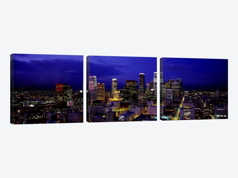 Skyscrapers lit up at nightCity of Los Angeles, California, USA by Panoramic Images 3-piece Canvas Art Print
