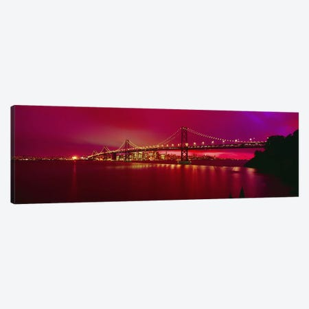 Suspension bridge lit up at nightBay Bridge, San Francisco, California, USA Canvas Print #PIM2898} by Panoramic Images Canvas Wall Art
