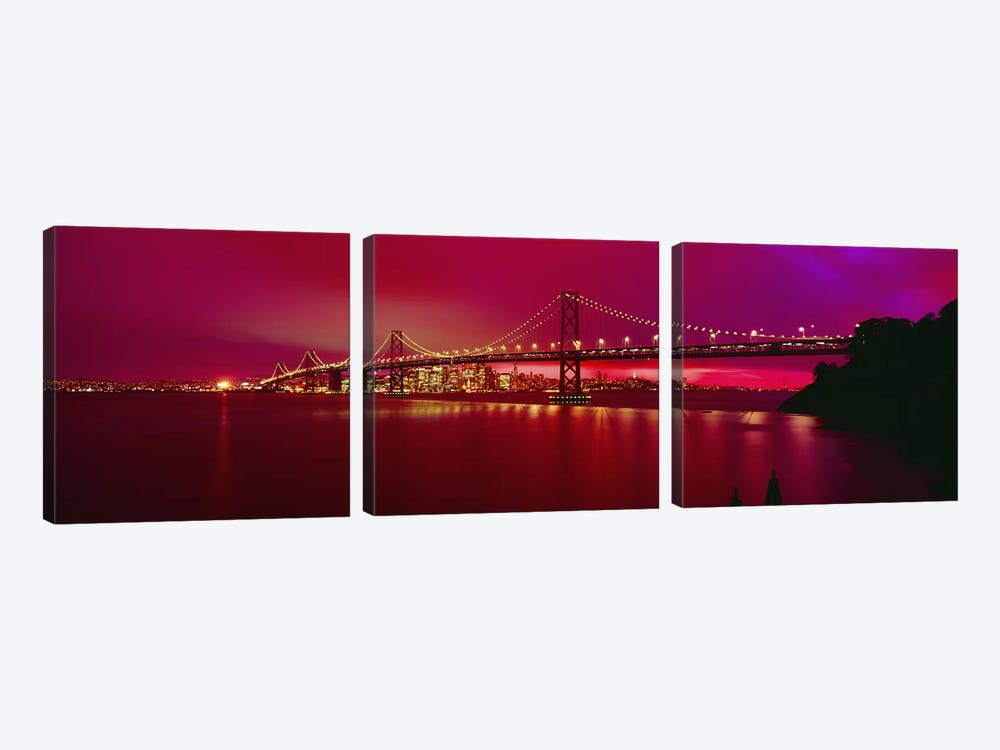 Suspension bridge lit up at nightBay Bridge, San Francisco, California, USA by Panoramic Images 3-piece Canvas Wall Art