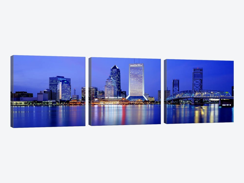 Night, Jacksonville, Florida, USA 3-piece Art Print