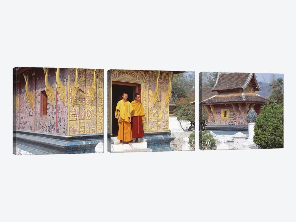 Monks Wat Xien Thong Luang Prabang Laos by Panoramic Images 3-piece Canvas Art