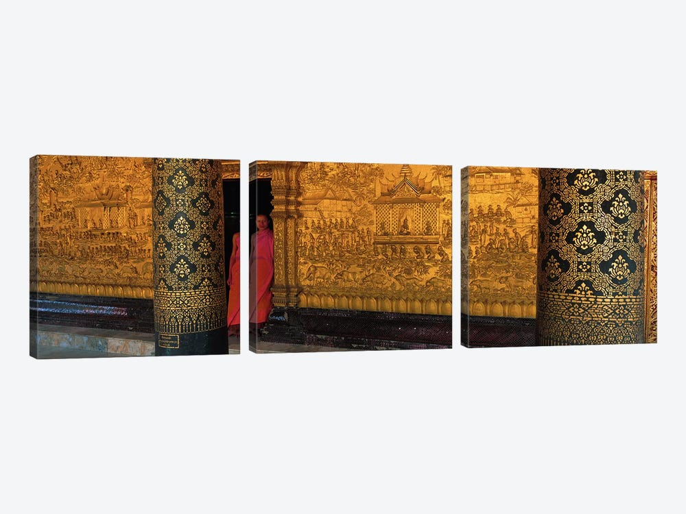Monk in prayer hall at Wat Mai Buddhist Monastery, Luang Prabang, Laos by Panoramic Images 3-piece Canvas Art