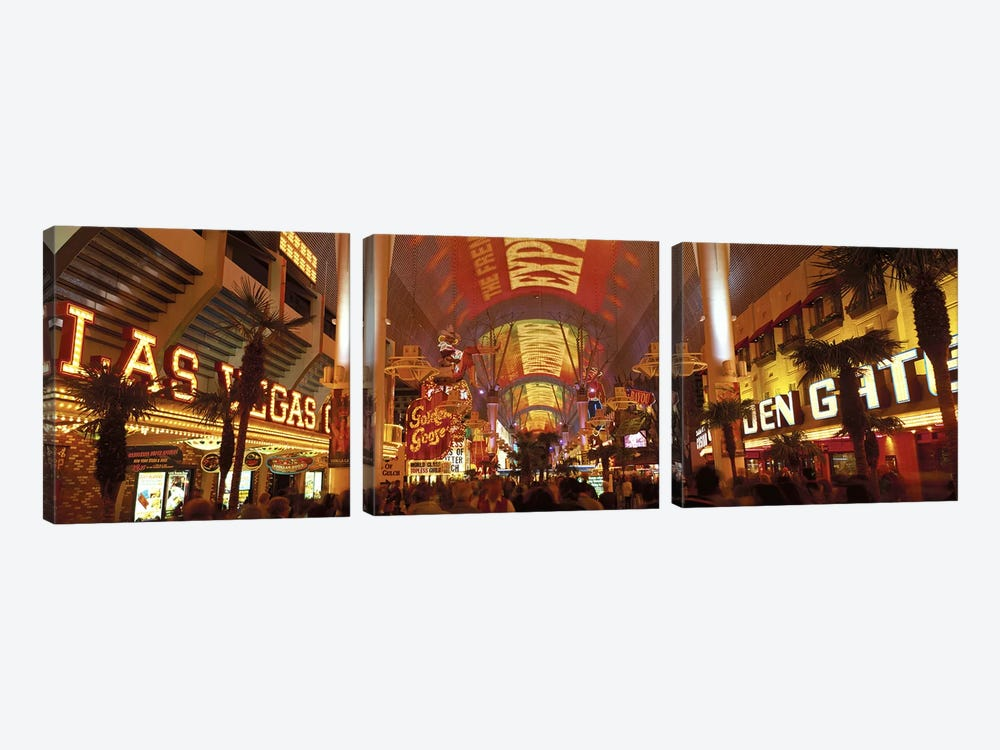 Fremont Street Experience Las Vegas NV USA #3 by Panoramic Images 3-piece Canvas Art Print