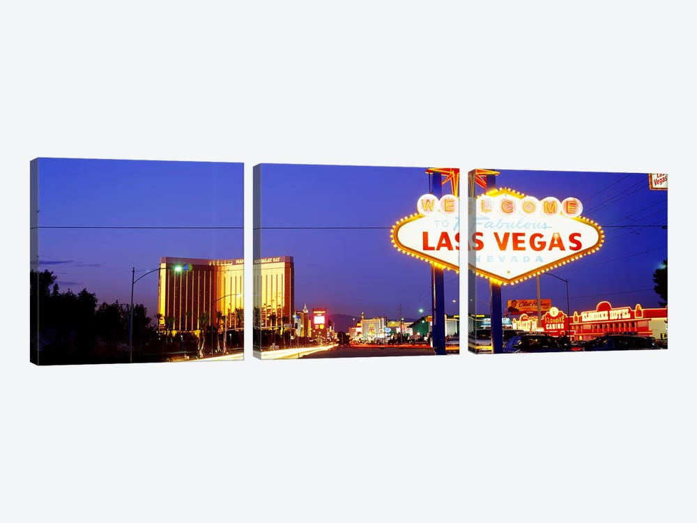 Welcome Sign Las Vegas NV by Panoramic Images 3-piece Canvas Art Print