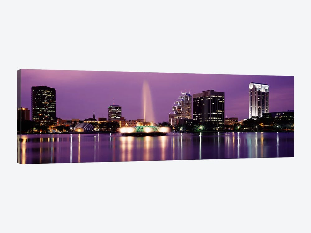 View Of A City Skyline At Night, Orlando, Florida, USA by Panoramic Images 1-piece Canvas Print