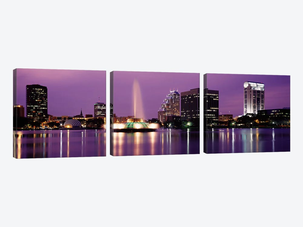 View Of A City Skyline At Night, Orlando, Florida, USA by Panoramic Images 3-piece Art Print