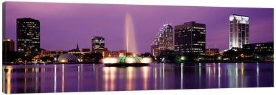 View Of A City Skyline At Night, Orlando, Florida, USA Canvas Art Print