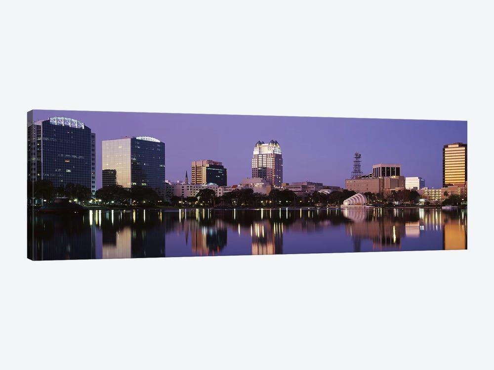 Office Buildings Along The Lake, Lake Eola, Orlando, Florida, USA by Panoramic Images 1-piece Canvas Wall Art