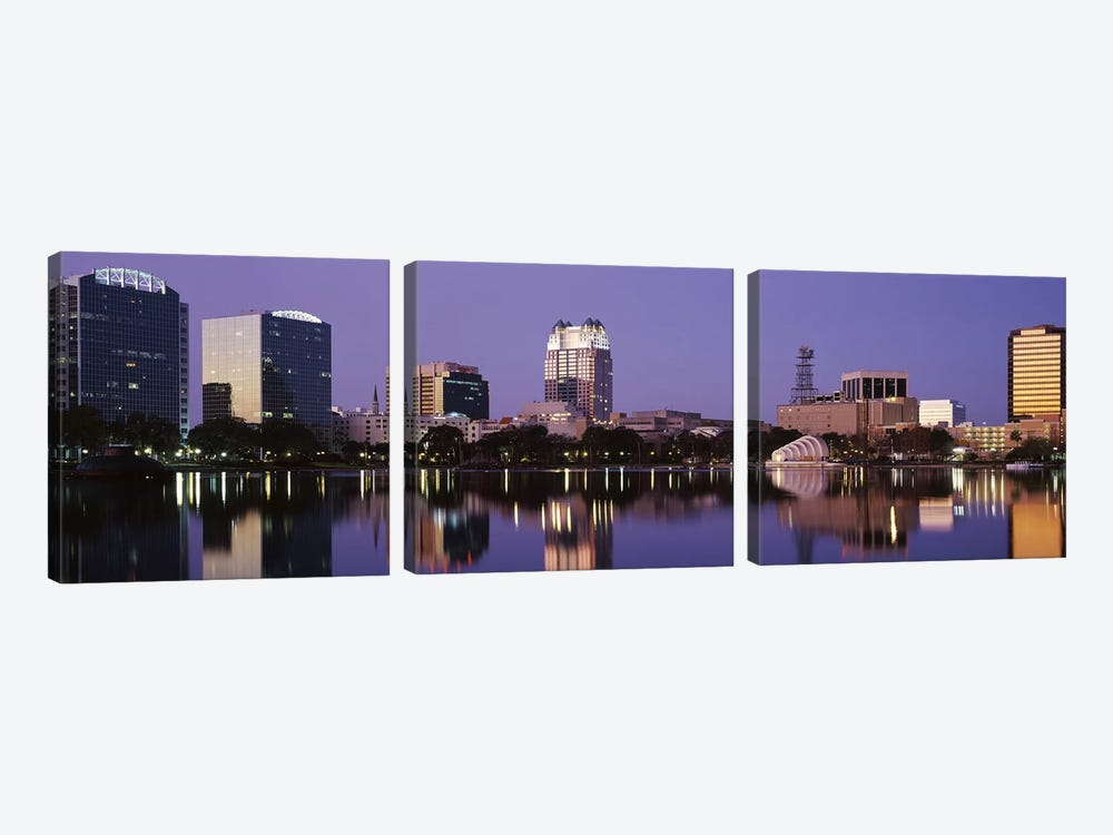 Office Buildings Along The Lake, Lake Eola, Orlando, Florida, USA by Panoramic Images 3-piece Canvas Wall Art
