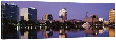 Office Buildings Along The Lake, Lake Eola, Orlando, Florida, USA Canvas Art Print