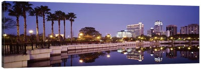 Reflection Of Buildings In The Lake, Lake Luceme, Orlando, Florida, USA Canvas Art Print