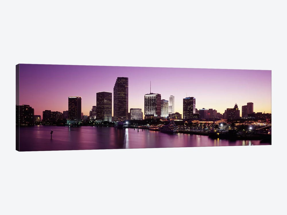 Buildings lit up at duskBiscayne Bay, Miami, Miami-Dade county, Florida, USA by Panoramic Images 1-piece Canvas Print