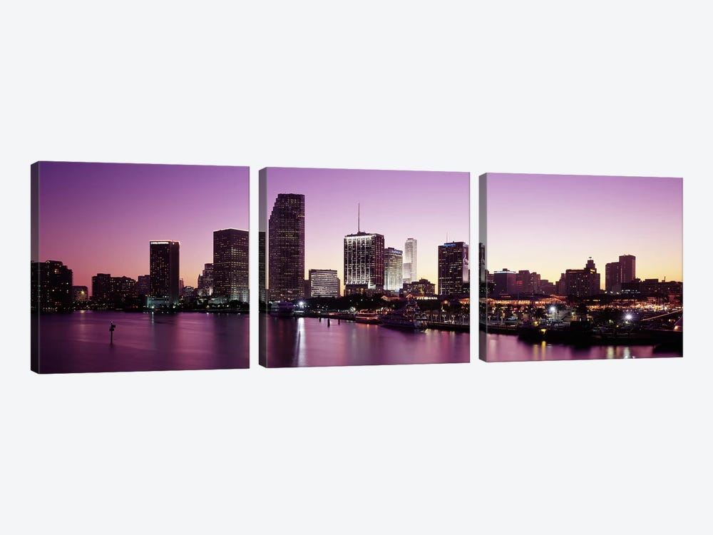 Buildings lit up at duskBiscayne Bay, Miami, Miami-Dade county, Florida, USA by Panoramic Images 3-piece Canvas Art Print