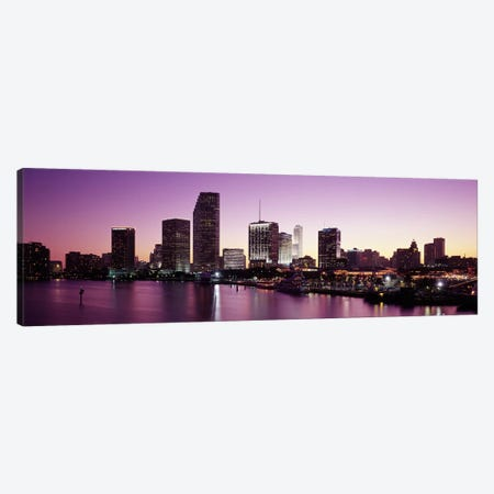 Buildings lit up at duskBiscayne Bay, Miami, Miami-Dade county, Florida, USA Canvas Print #PIM2916} by Panoramic Images Canvas Wall Art