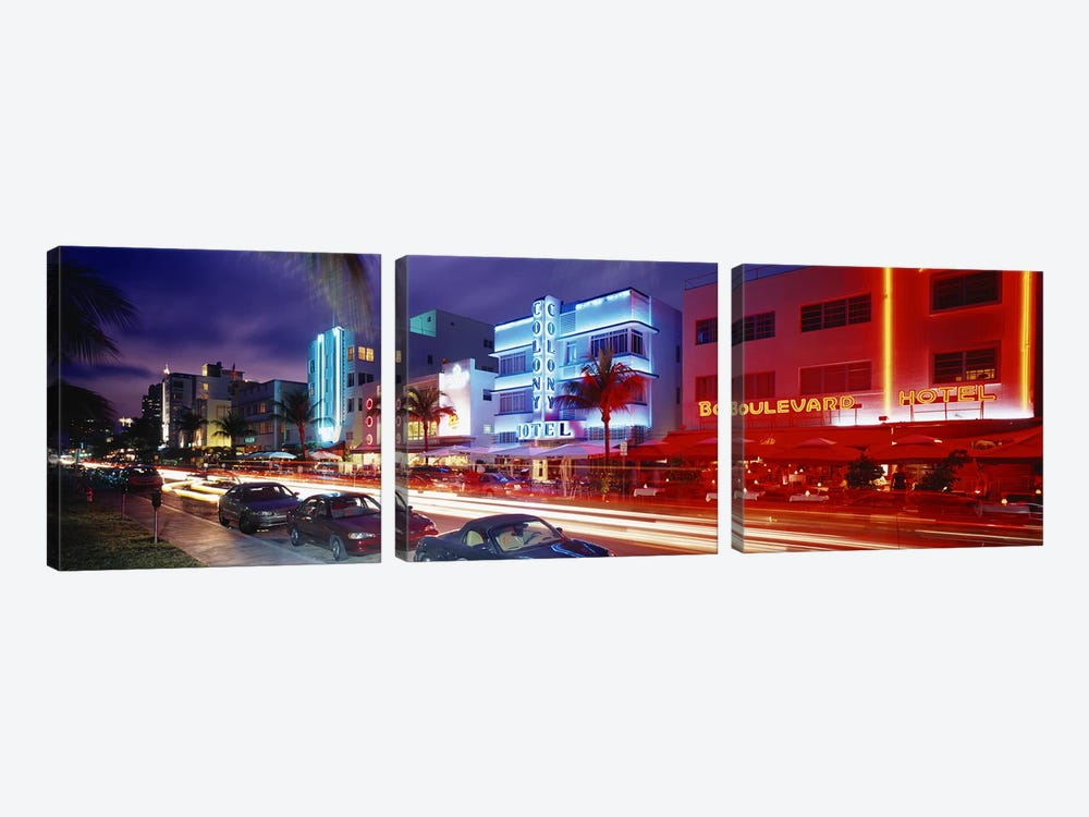 Ocean DriveMiami Beach, Miami, Florida, USA by Panoramic Images 3-piece Canvas Artwork