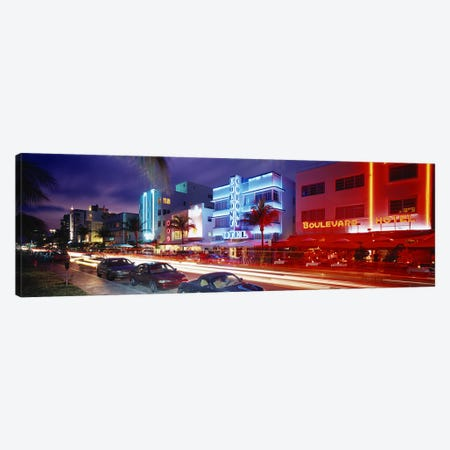 Ocean DriveMiami Beach, Miami, Florida, USA 3-Piece Canvas #PIM2917} by Panoramic Images Canvas Artwork
