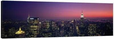 Twilight, Aerial, NYC, New York City, New York State, USA Canvas Print #PIM2922